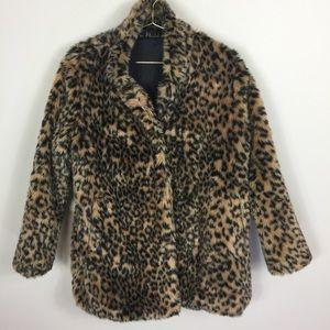 COZY and Stylish YMHY Faux Leopard Fur Jacket L